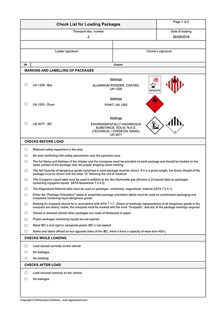 IATA Check List for Dangerous Goods, Chemicals, and Waste